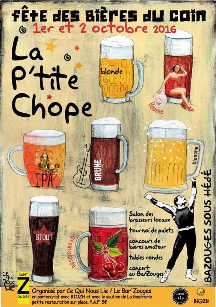 Affiche Fete des bières du coin à Bazouges sous Hédé octobre 2016
