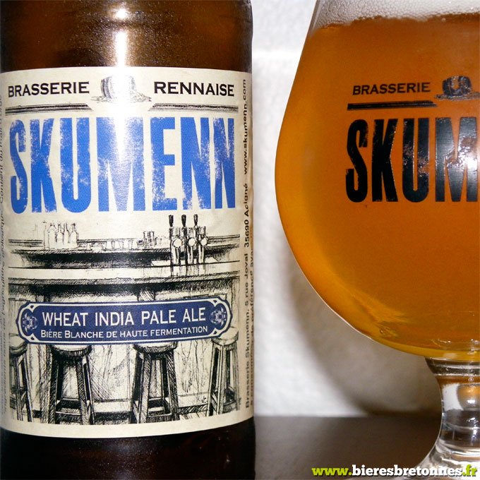 Étiquette Skumenn Wheat India Pale Ale, brasserie rennaise Skumenn