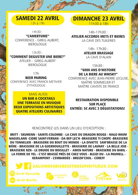 Programme salon bières spiritueux bretons Rennes 22 et 23 avril 2017
