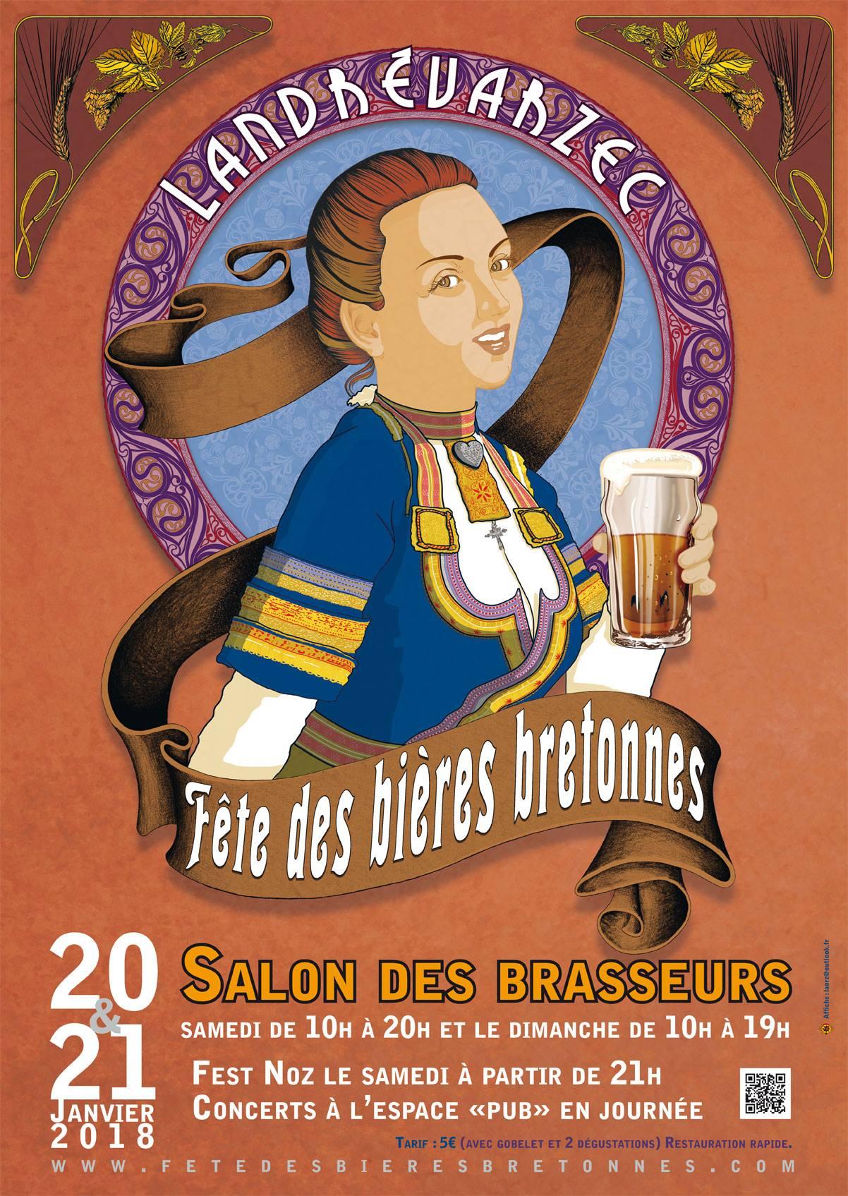 Affiche Fête des bières bretonnes de Landrévarzec Janvier 2018