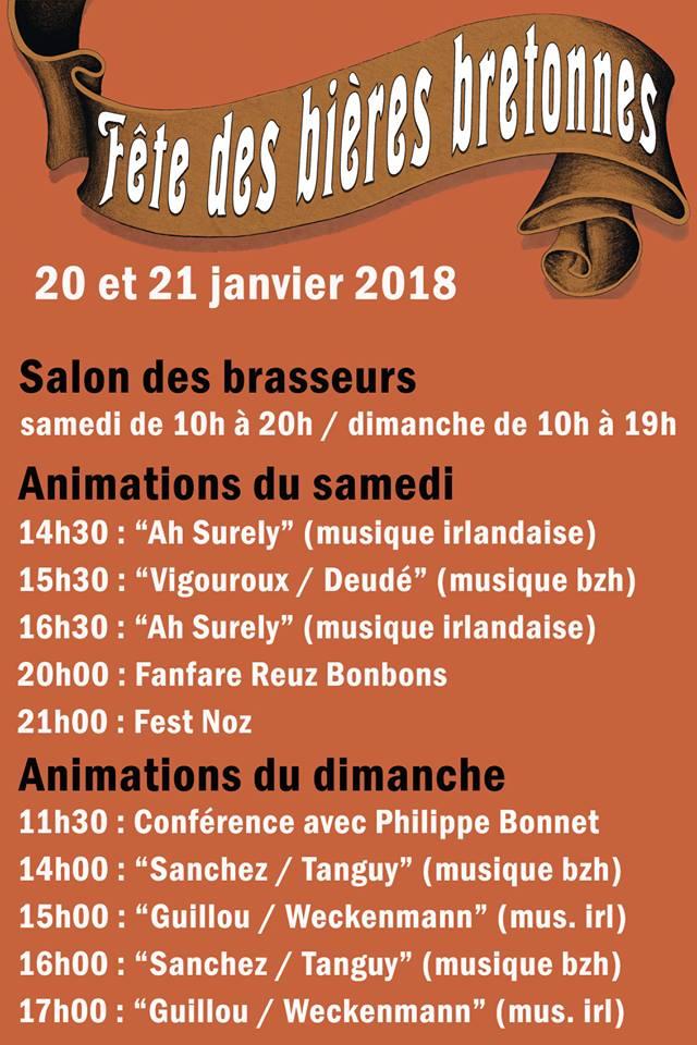 Programme Fête des bières bretonnes de Landrévarzec Janvier 2018